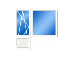 Балконный блок 504: дверь 680x2140, окно 500x1410 (мм)