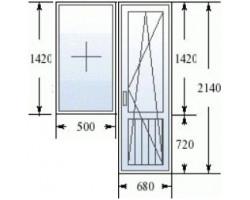 Балконный блок (серия 137): дверь 680х2140 мм, окно 1200x1420 мм