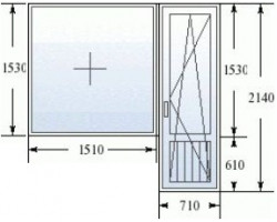 Балконный блок (серия 504): дверь 680x2140 мм, окно 1700x1410 мм