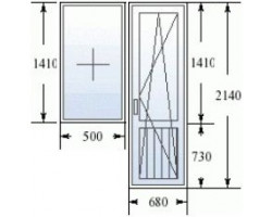 Балконный блок (серия 505) дверь 730*2150 мм, окно 1500х1530