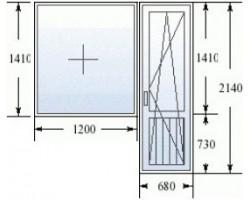 Балконный блок (серия 600.11) дверь 680х2140 мм, окно 1200x1420 мм