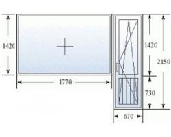 Балконный блок (серия 606) дверь 680x2140 мм, окно 1700x1410 мм