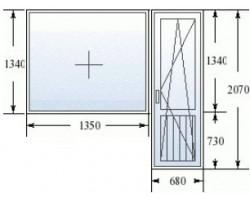 Балконный блок (Хрущевка, широкие откосы): дверь 680х2070 мм, окно 1280x1340 мм