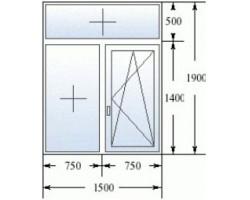 Двухстворчатое пластиковое окно (Кирпичные дома) 1500*1900 мм