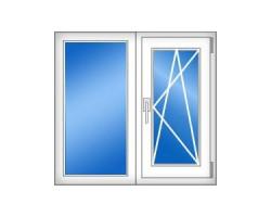 Двухстворчатое пластиковое окно (серия 504) 1450x1410 мм