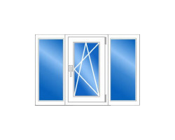 Трёхстворчатое пластиковое окно (серия 504) 1700x1410 мм