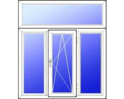Трехстворчатое пластиковое окно (Кирпичные дома) 2060*1520 мм