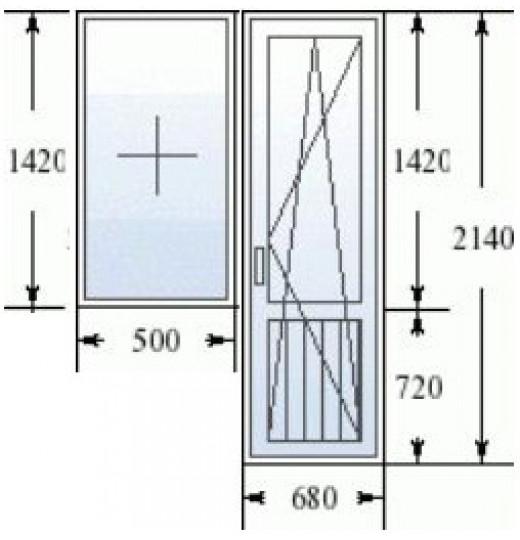 Балконный блок (серия 137): дверь 680х2140 мм, окно 1200x142.